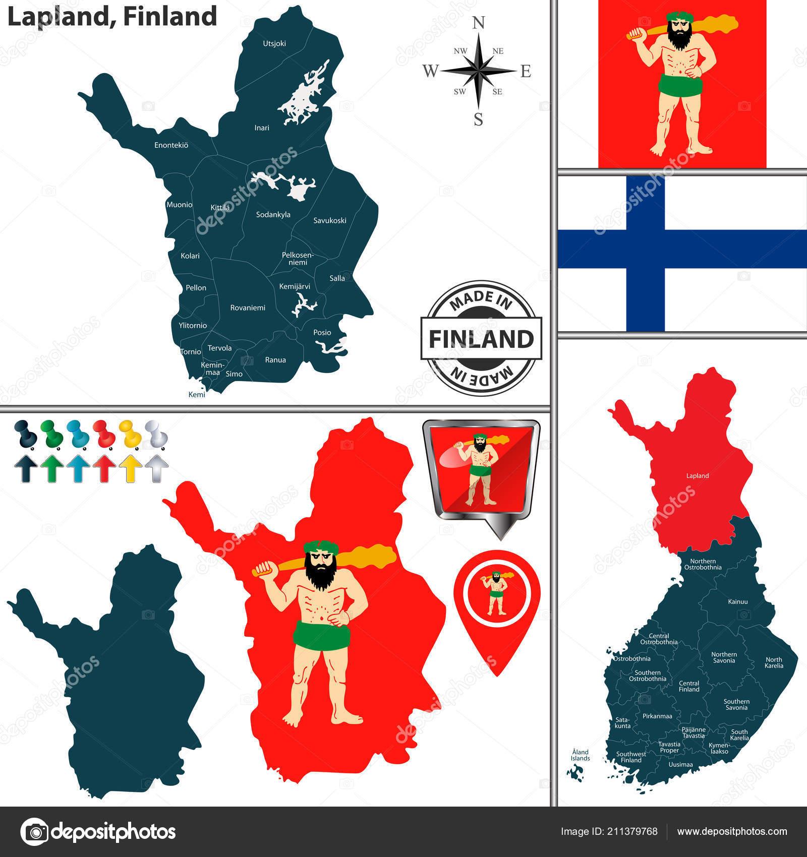 Lappland Karte.Vektorkarte Von Lappland Region Und Standort Auf Finnische Karte