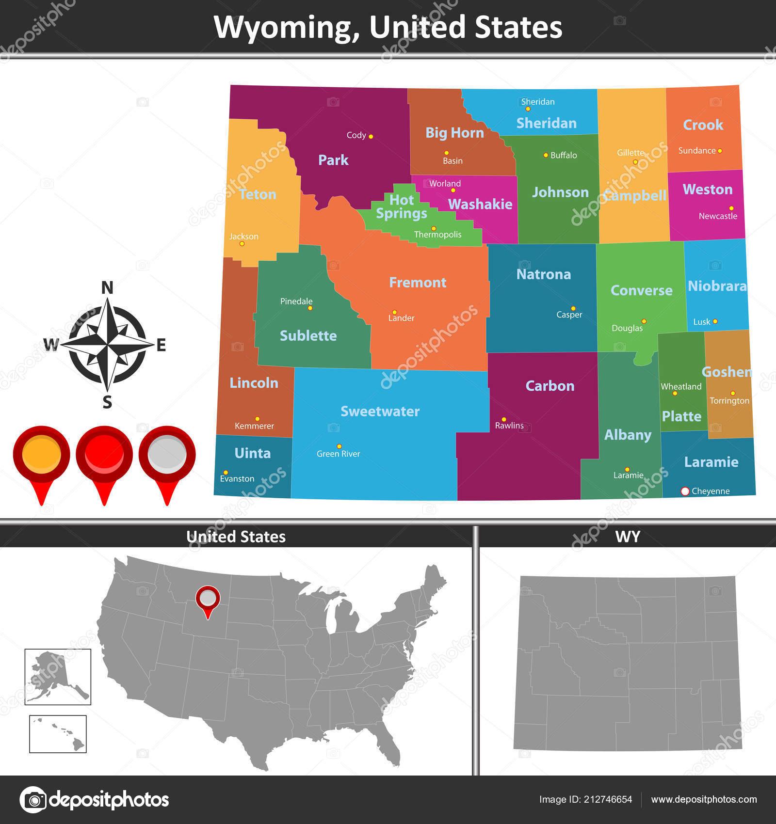 Vector Map Wyoming Counties Location Map — Stock Vector © sateda ...