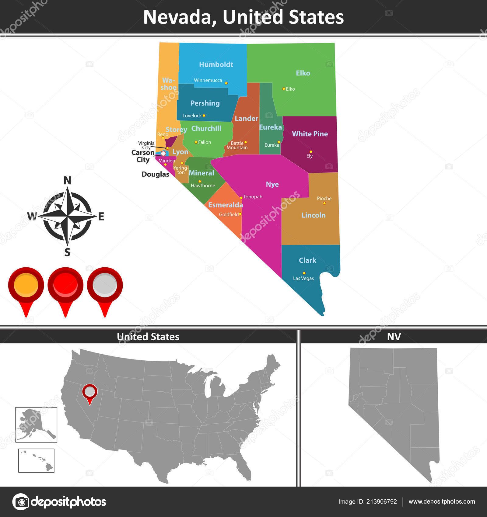 Vector Map Nevada Counties Location Map — Stock Vector © sateda ...