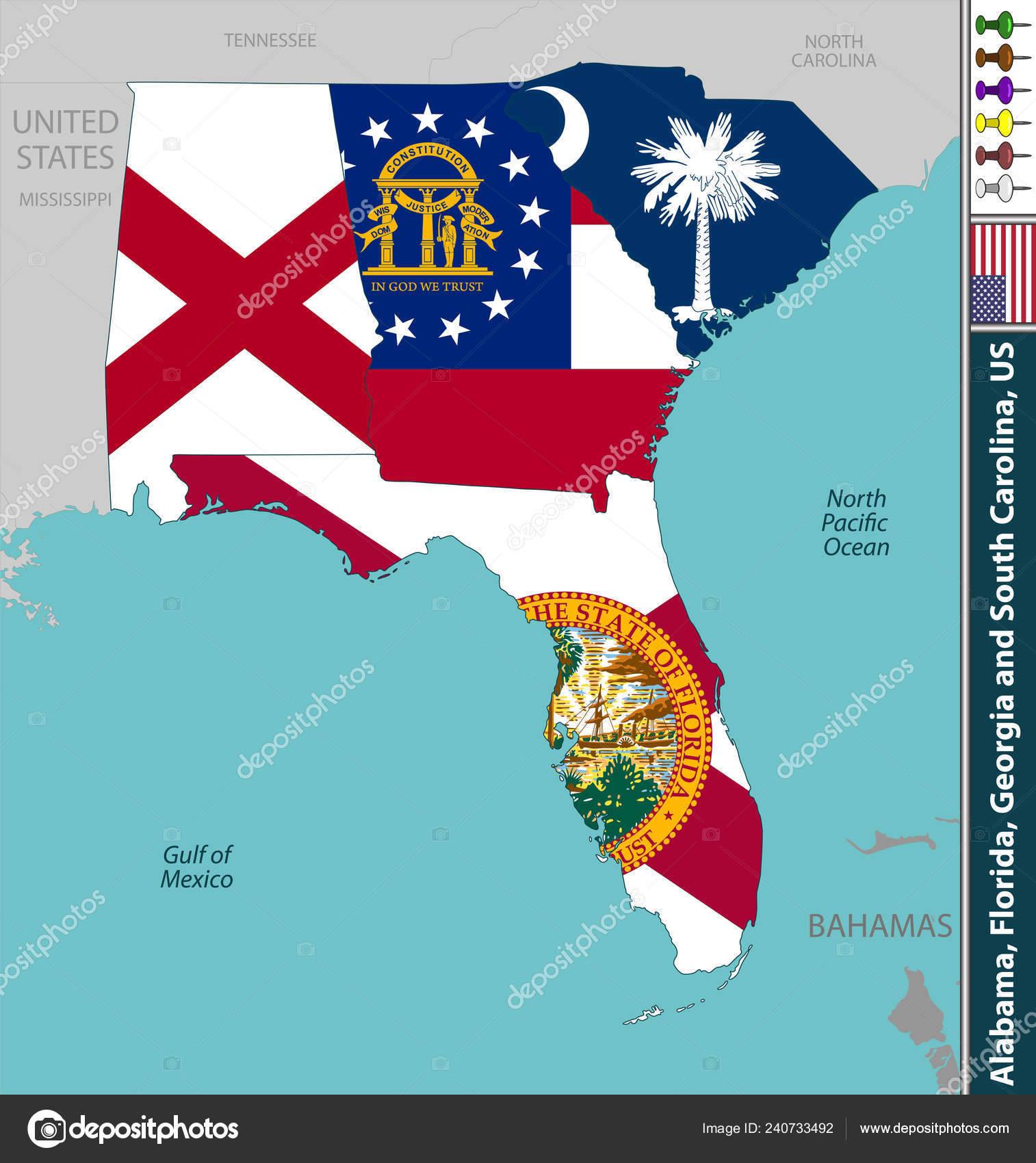 Map Of Georgia Florida And Alabama.Vector States Alabama Florida Georgia South Carolina United States