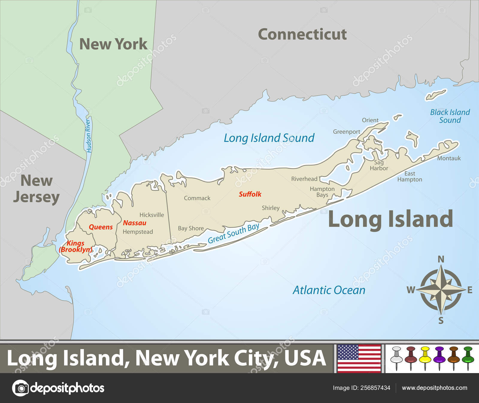 Map Of New York And Long Island.Map Of Long Island Stock Vector C Sateda 256857434
