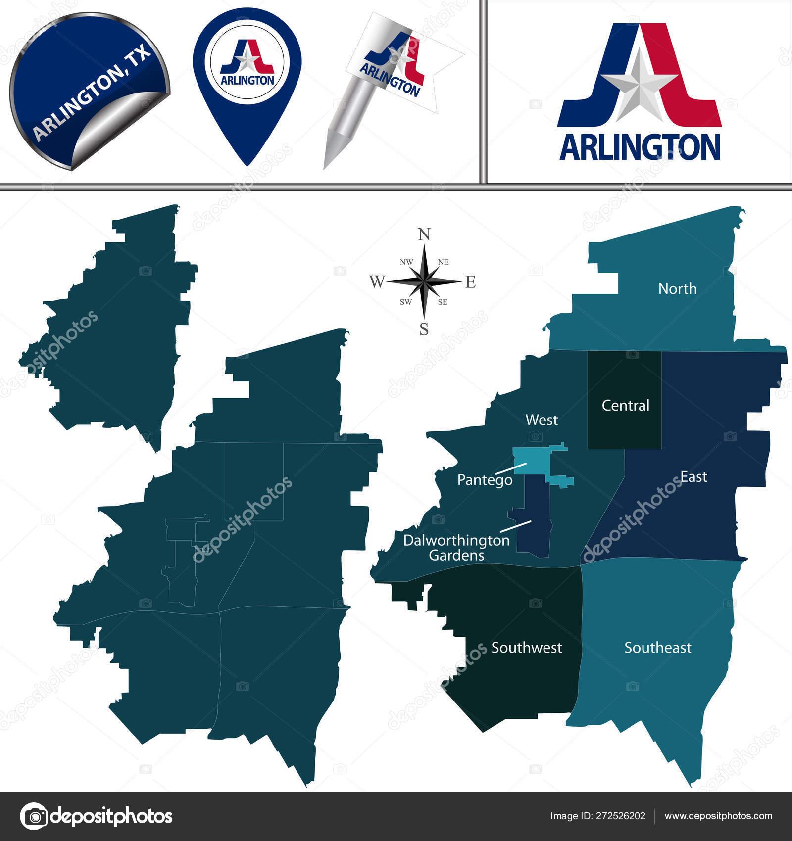 Map Of Texas Arlington.Map Of Arlington Tx With Districts Stock Vector C Sateda 272526202