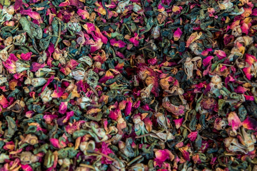 colorful dried fruit tea leaves for the whole frame