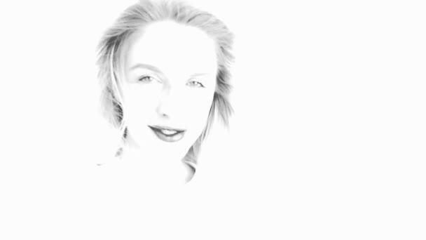 Krásná žena s vlasy foukající ve větru. Změna emocí. Černobílý nákres. Zpomaleně.
