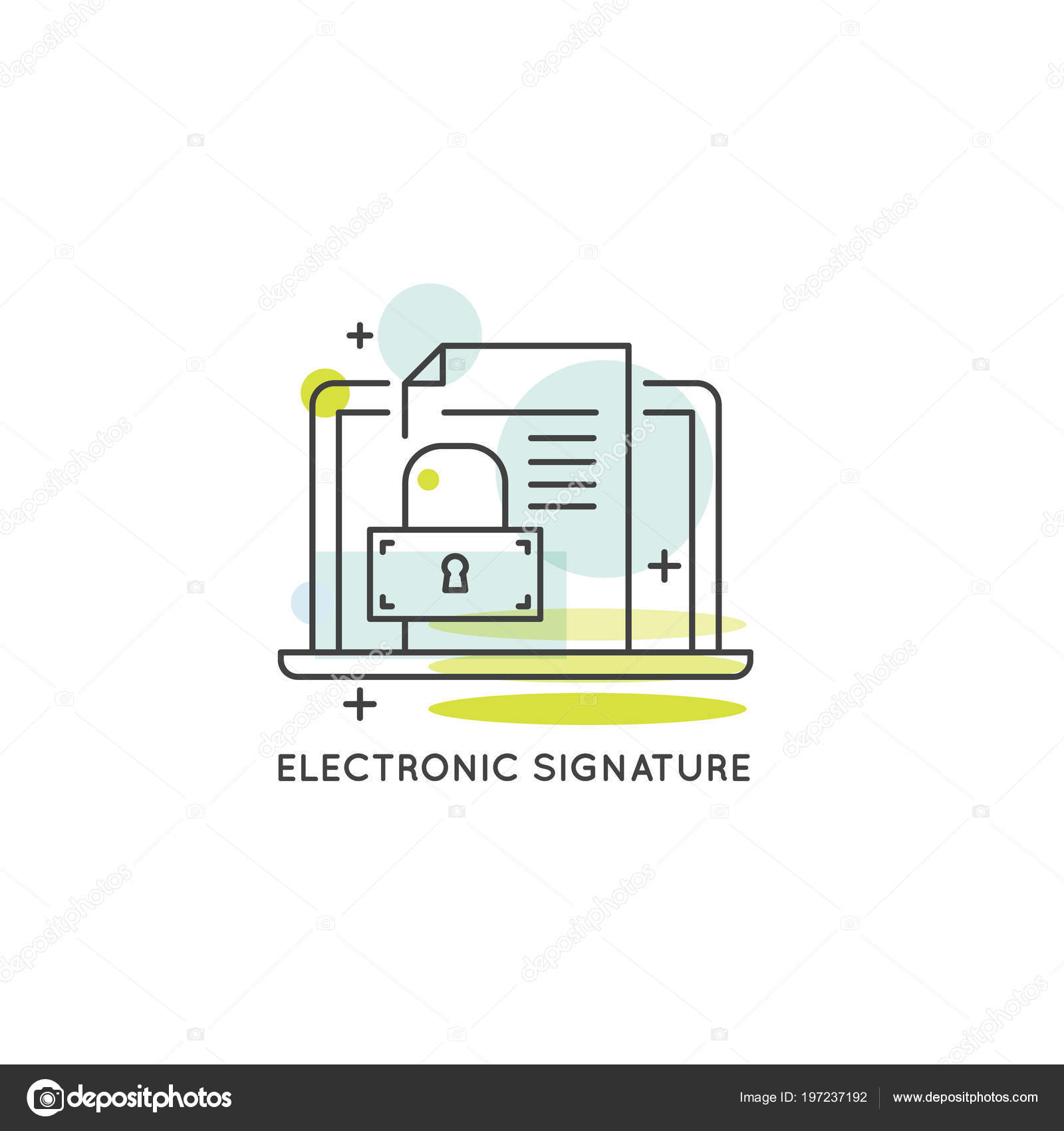 Vector Icon Style Illustration Electronic Signature Concept Data Protection Services Service Stock