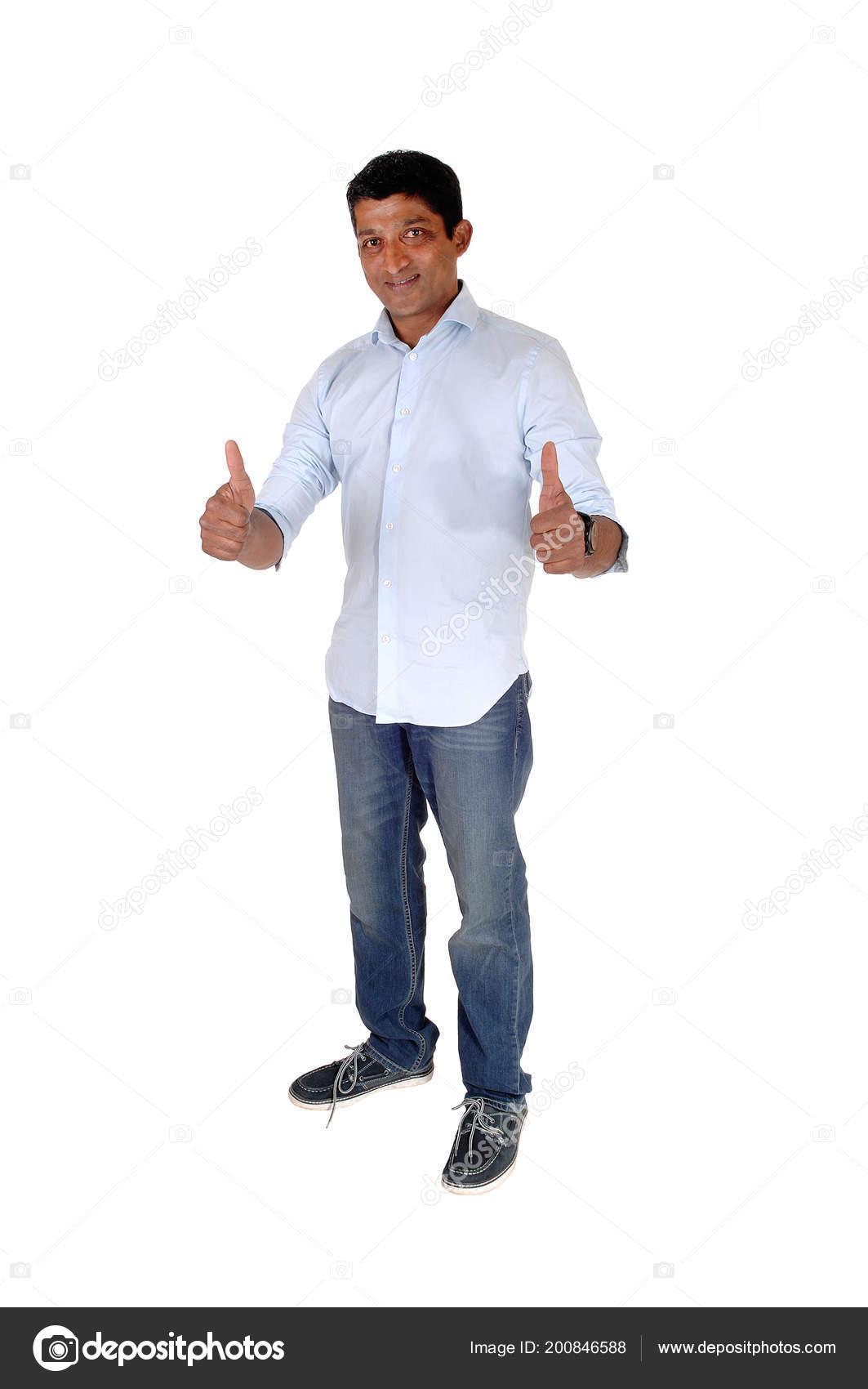 7ba20e396b Immagine Completa Del Corpo Uomo Indiano Orientale Jeans Camicia Blu ...