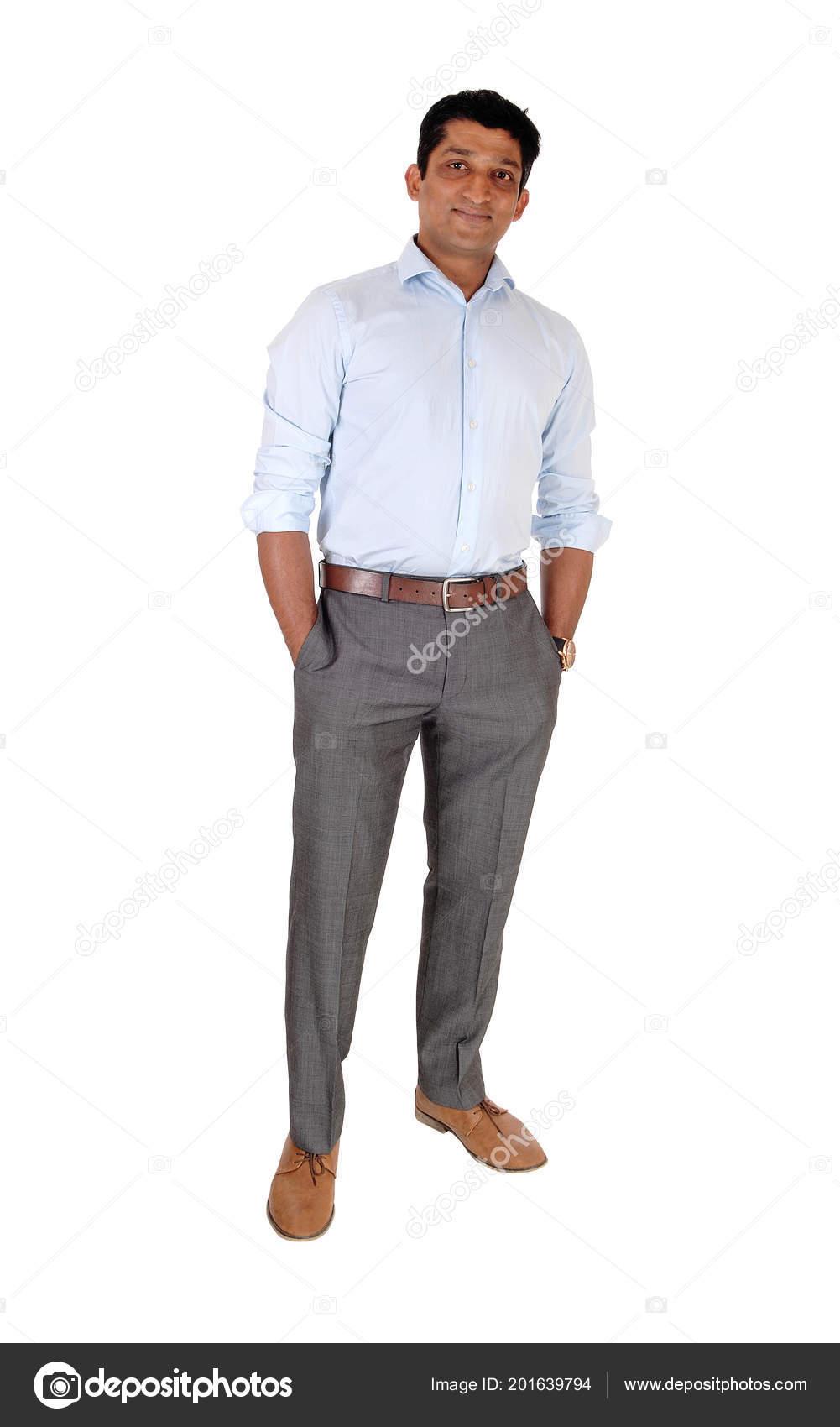 Hombre Indio Alto Pie Relajado Pantalones Vestir Camisa Azul