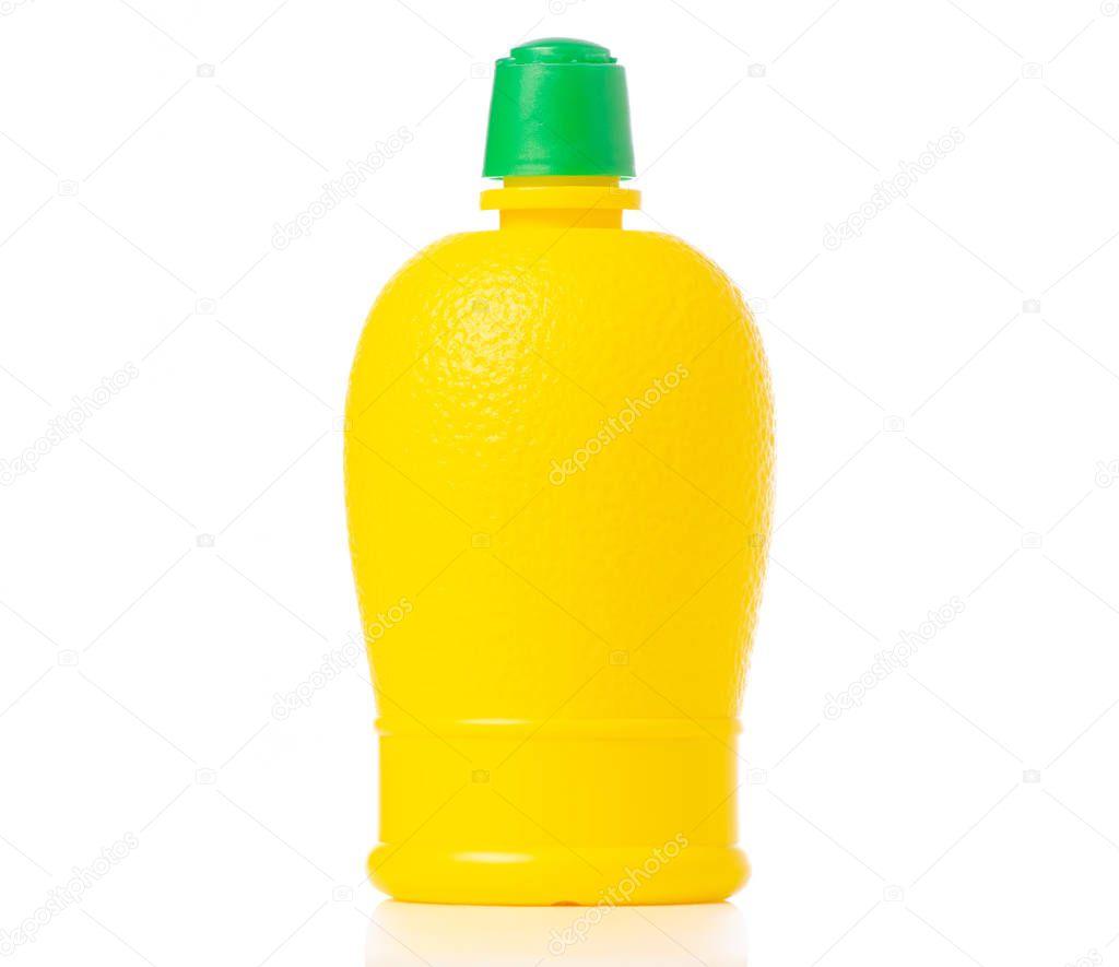 Yellow bottle with lemon juice