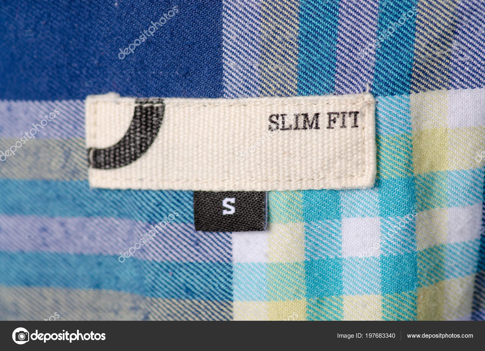 Size S Textile Clothes Label Tag Slim Fit Stock Photo