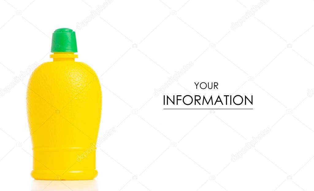 Yellow plastic bottle with lemon juice fresh nature pattern