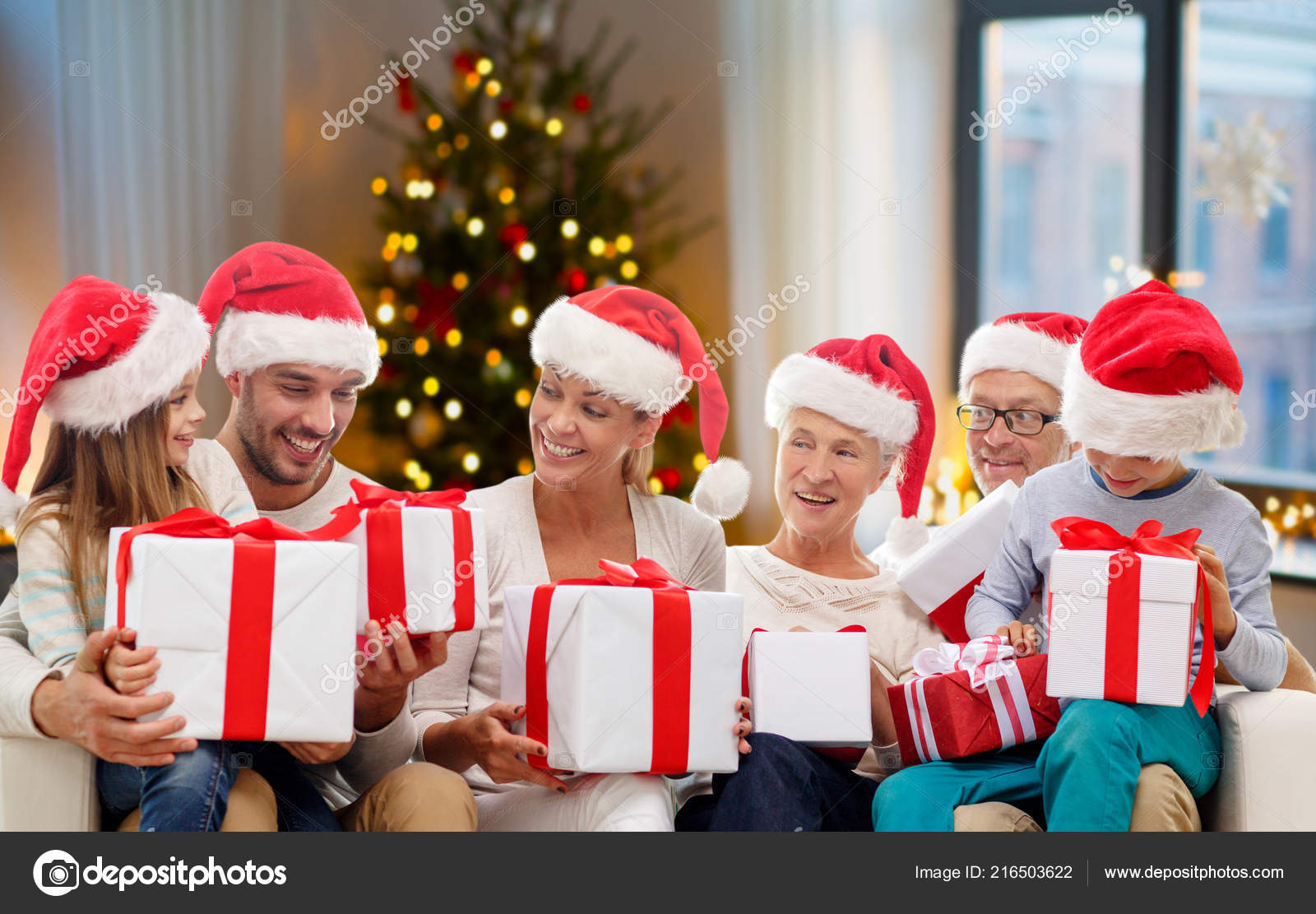 happy family with christmas gifts at home — Stock Photo ...