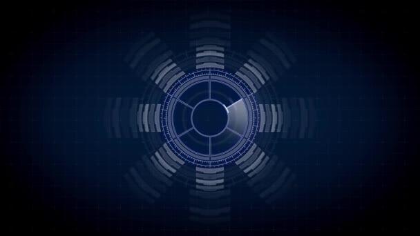 Circuito Virtual : Proyección de circuito virtual sobre fondo negro u vídeo de stock