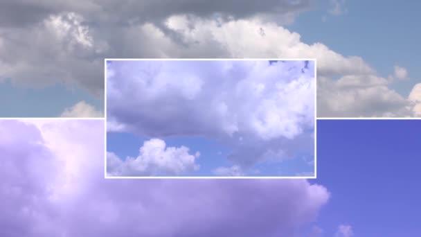 Aufnahmen des Himmels mit bewegten Wolken Collage mit Kopierraum