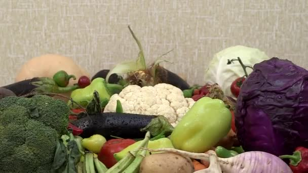 fresh vegetables on spinning kitchen table