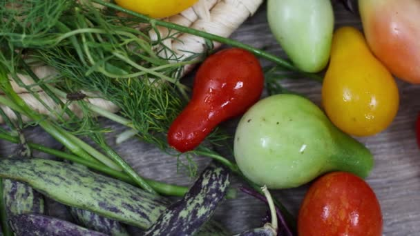 Close up view of fresh vegetables and herbs  on kitchen table