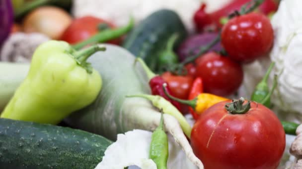 Close up view of fresh vegetables on kitchen table