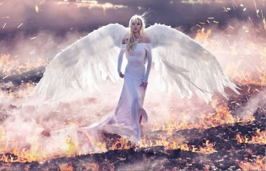Conceptual portrait of an angel walking on the hell flames