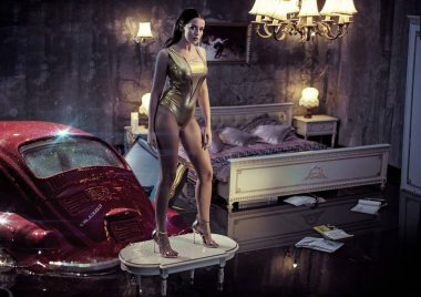 Conceptual portrait a sensual woman in a flooded apartment