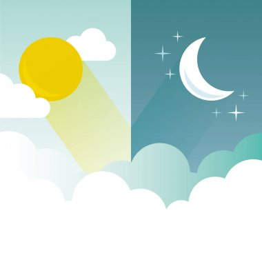 Day and Night layout. Sun, moon, stars and clouds banner.