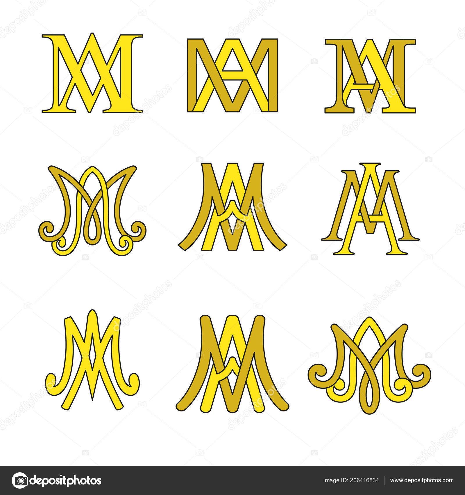 Monogram Ave Maria Symbols Set Religious Catholic Signs