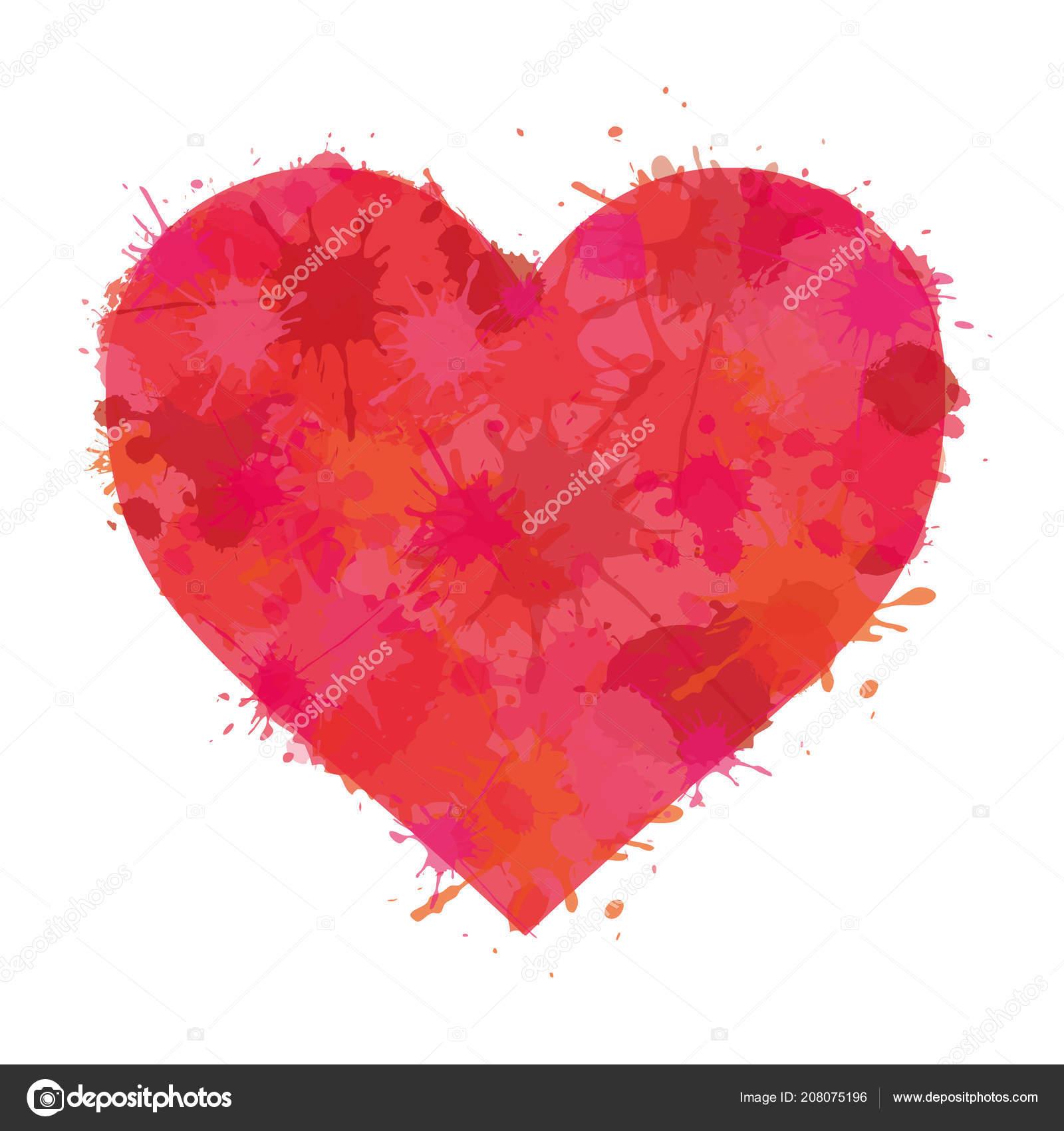 Heart Watercolor Paint Illustration Splatter Love Icon Sign Symbol