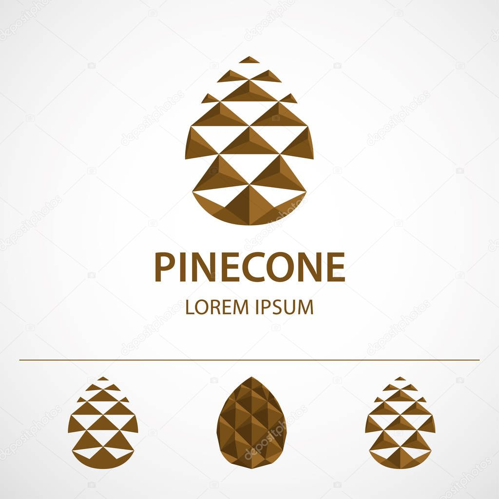 Pine cone logo template, variations. Low polygonal icon or concept image.