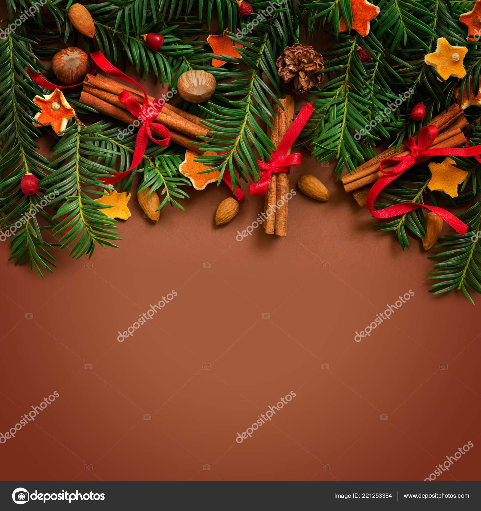 christmas and new year border design on the brown background with fir tree and orange dry decoration and space for text photo by oleshdiz