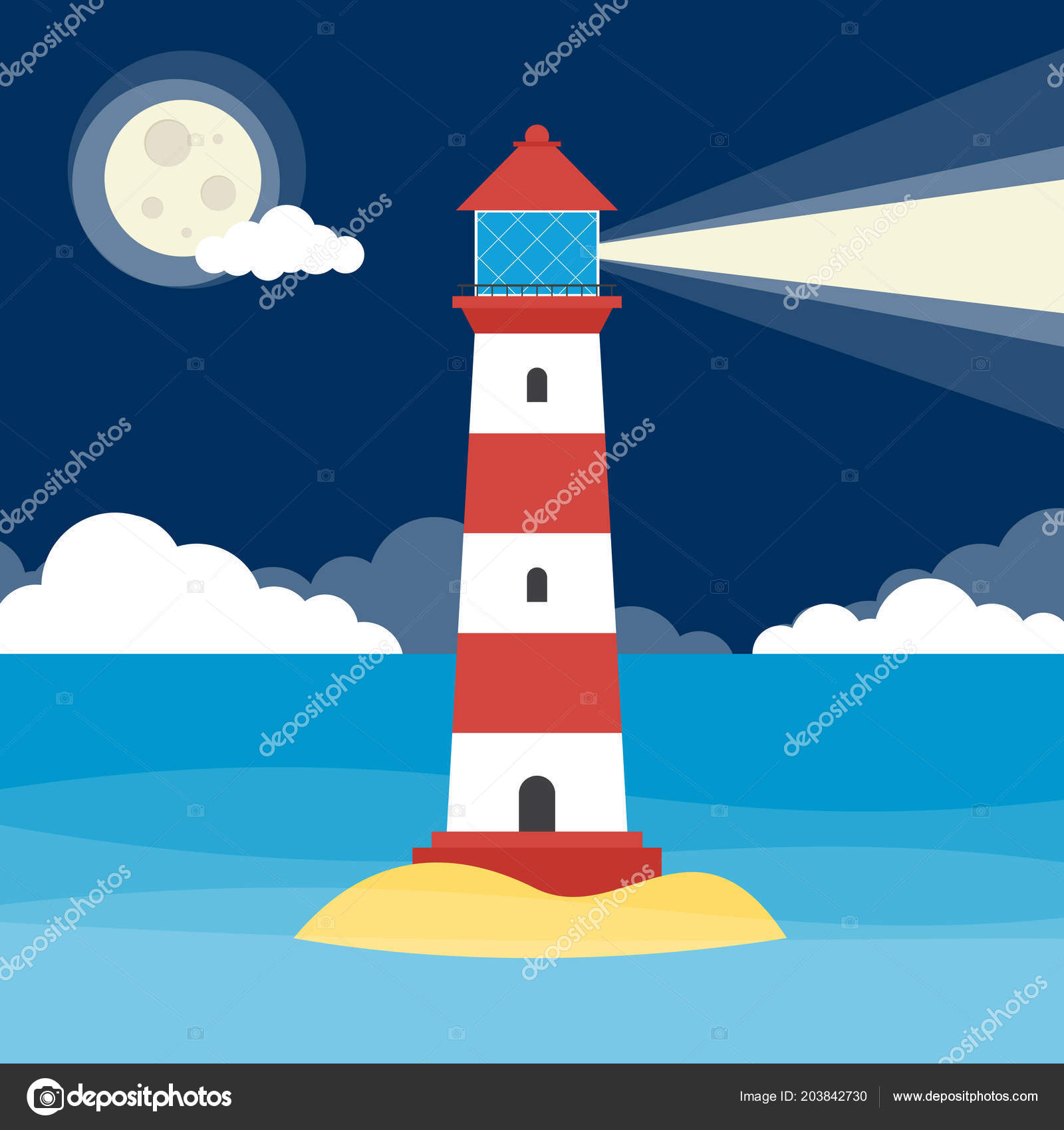 Lighthouse Shining Warning Light Night — Stock Vector