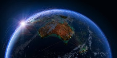 Planet Earth with detailed relief and atmosphere is covered with a network of air routes based on real data. Australia and New Zealand.3D rendering. Elements of this image furnished by NASA