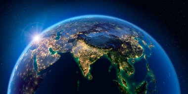 Earth at night and the light of cities. India. South-east Asia.