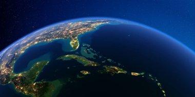 Detailed Earth at night. Caribbean islands. Cuba, Haiti, Jamaica