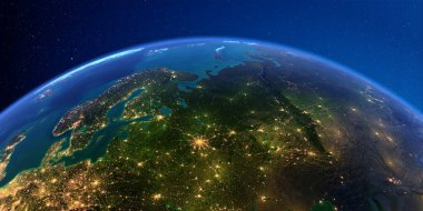 Detailed Earth at night. European part of Russia