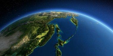 Detailed Earth. Russian Far East, the Sea of Okhotsk