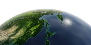 Detailed Earth on white background. Russian Far East, the Sea of