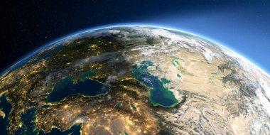 Detailed Earth. Europe. Caucasus and the Caspian Sea