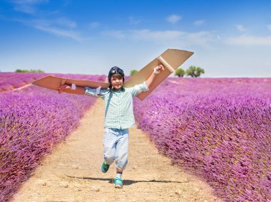 Portrait of happy boy running through lavender field and waving cardboard wings trying to fly