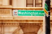 Washington avenue street green sign in Albany, NY, USA