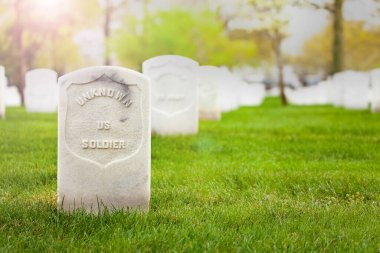 Tombstone of unknown soldier on the cemetery grass ground with other graves on background stock vector