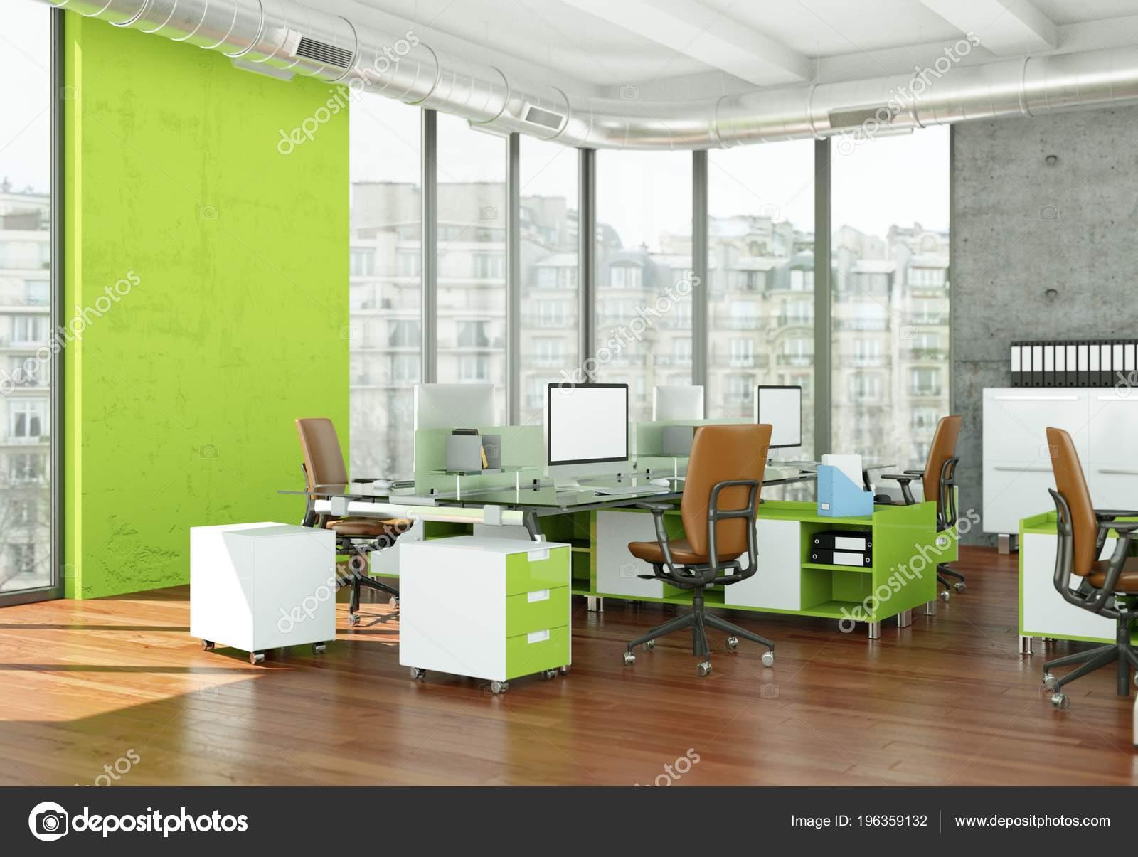 Design dintérieur de bureau à la maison moderne rendu 3d