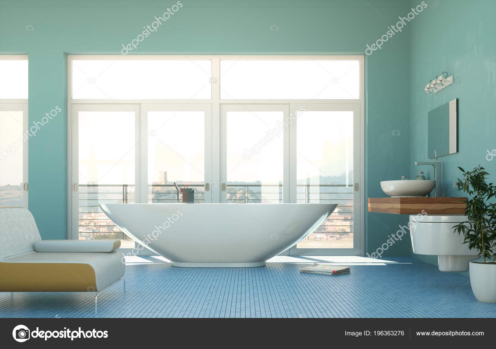 Escena de representación 3d moderno cuarto de baño diseño de ...