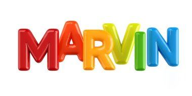 isolated colorfull 3d Kid Name balloon font Marvin