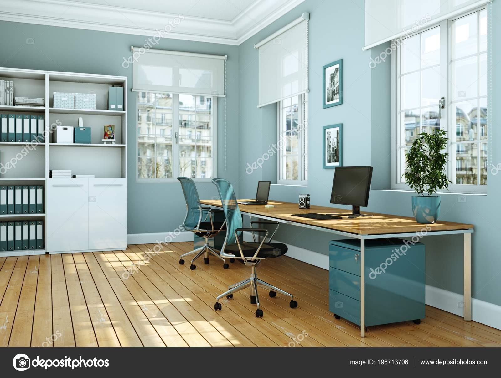 Witte Interieur Inrichting : Moderne witte thuiskantoor interieurinrichting d rendering