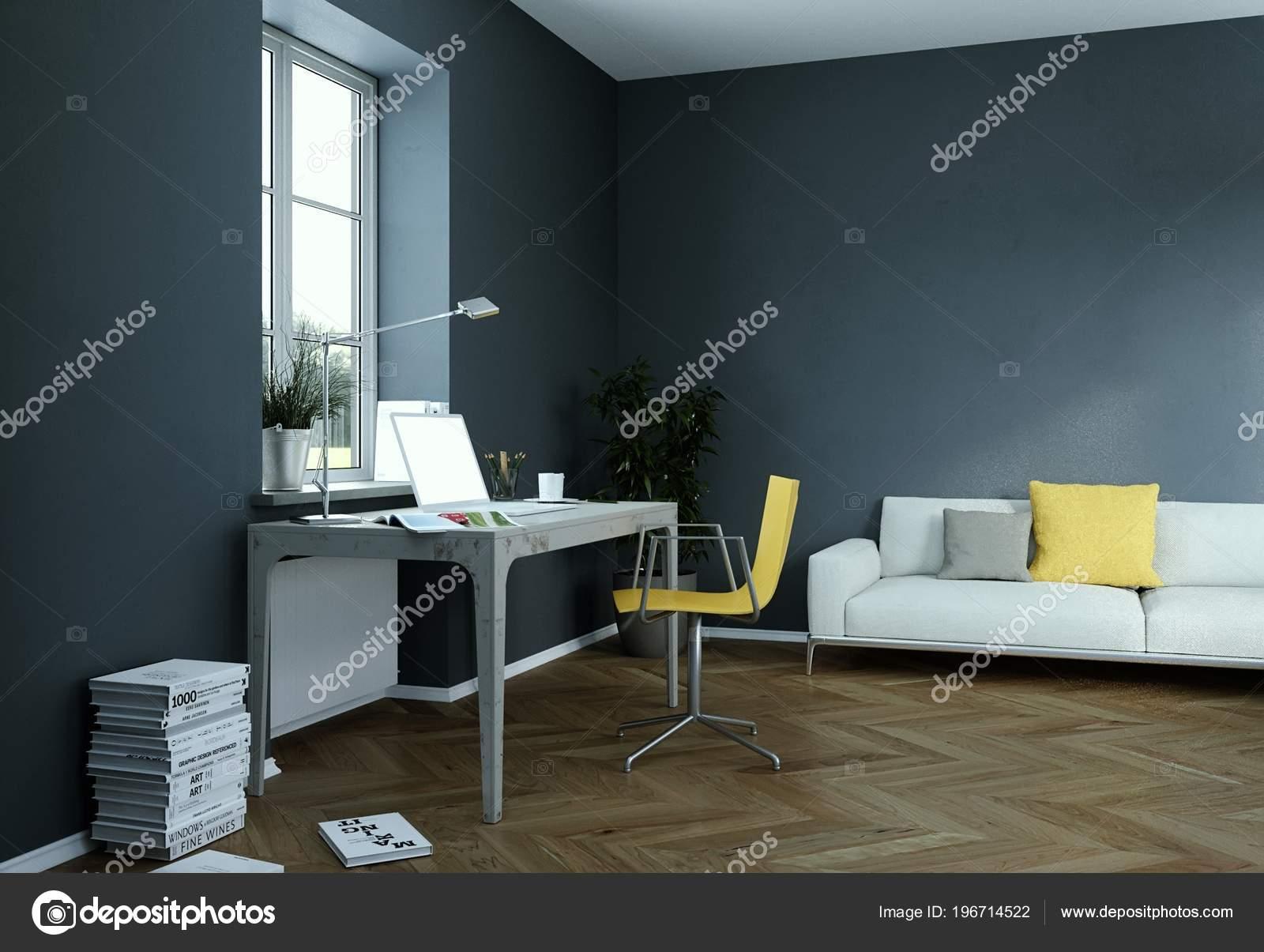 Interni Ufficio Design.Mockup Rendering Muro Scuro Vintage Casa Ufficio Design