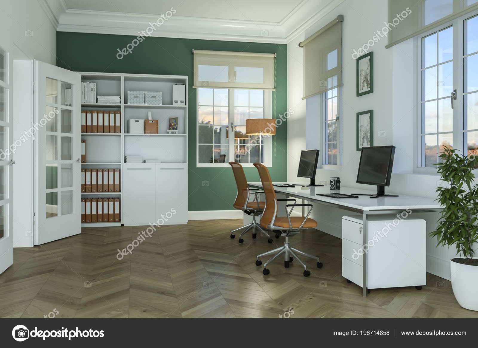 design d'intérieur de bureau moderne à la maison blanche rendu 3d