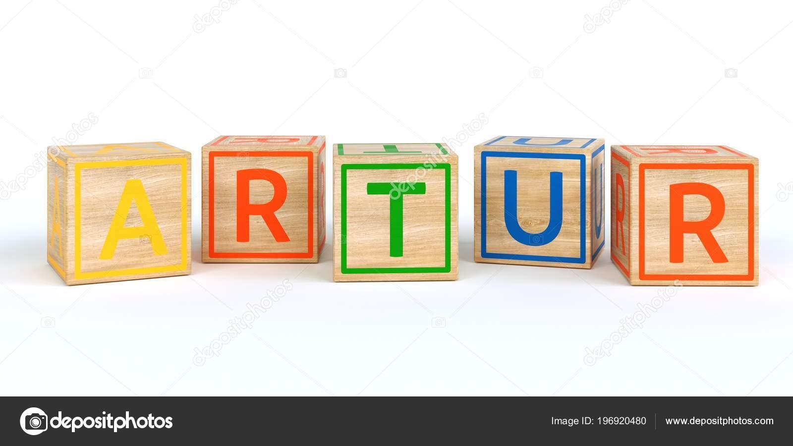 b17dac366dcc Cubos de juguete de madera aislada con Letras con nombre artur ...