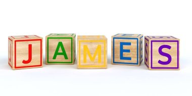 Isolated wooden toy cubes with letters with name james