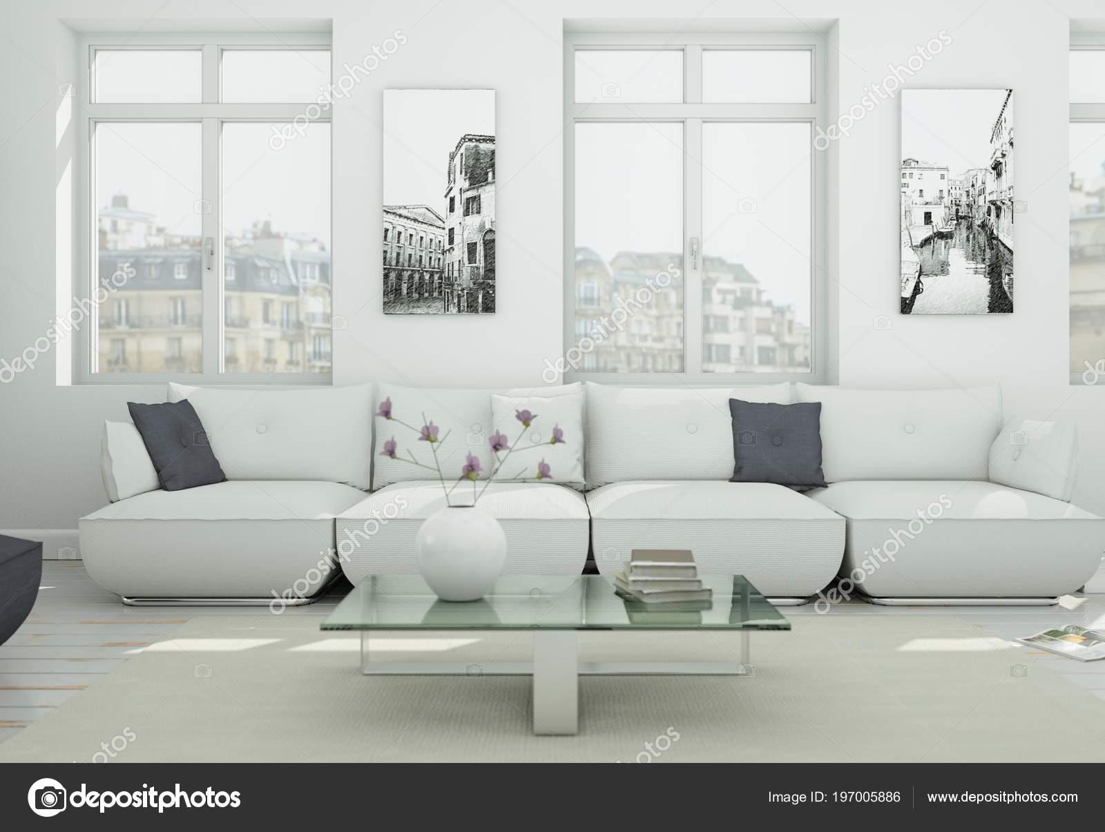 Moderne skandinavische interieur woonkamer in witte stijl