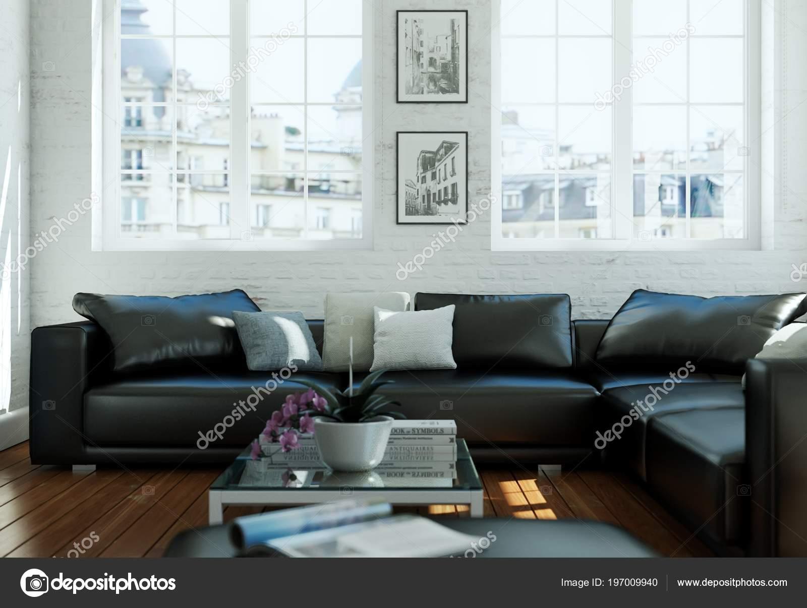 Salle De Séjour De Design Dintérieur Scandinave Moderne Cuir Noir