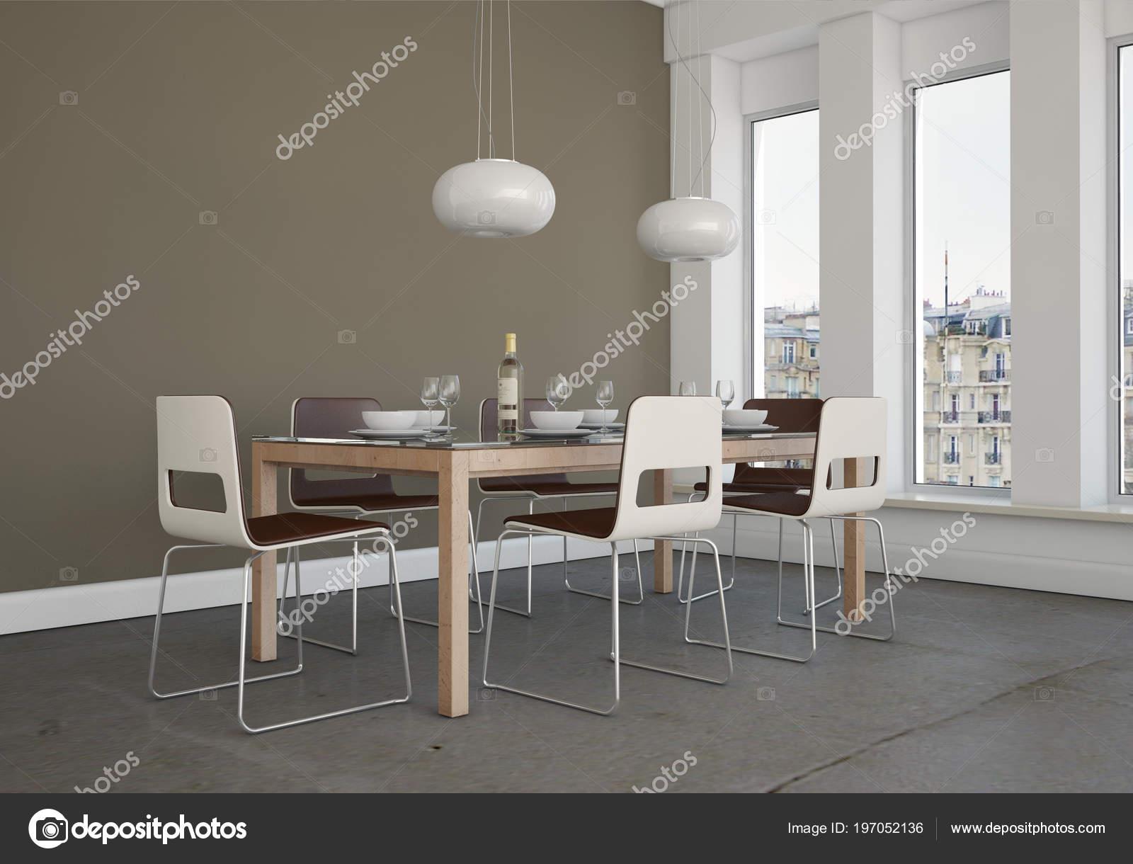 Interieur van de eetkamer met grijze muur u stockfoto virtua