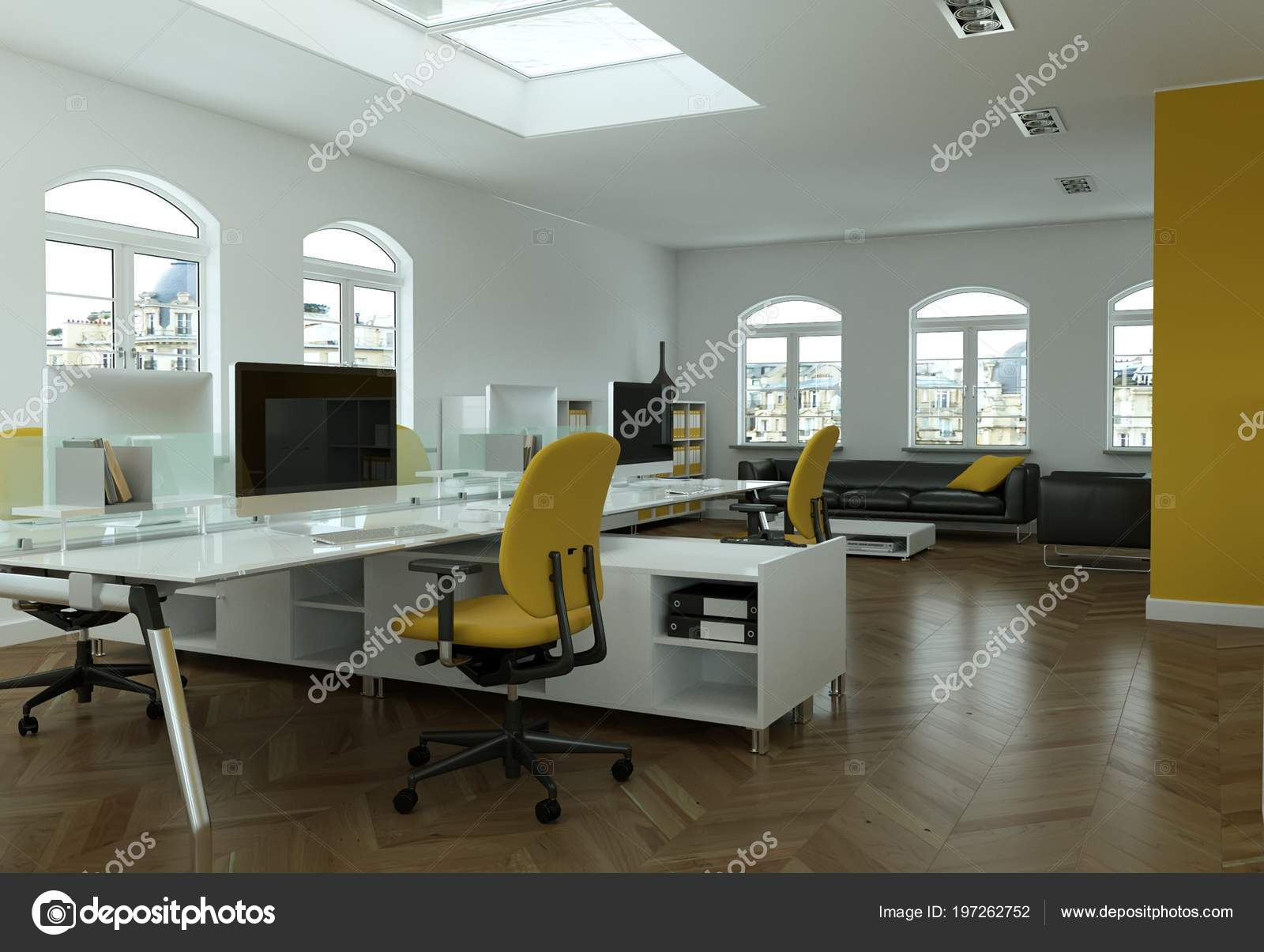 Bureau jaune moderne design d intérieur d rendering